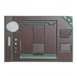 FOLDABLE OFFICE - GREEN VERSION - CLOSE - GREEN MDF -INDIAN ROSEWOOD VENEER - TOP VIEW